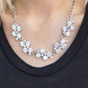 White Rhinestone Necklace, Earrings & Bracelet Set